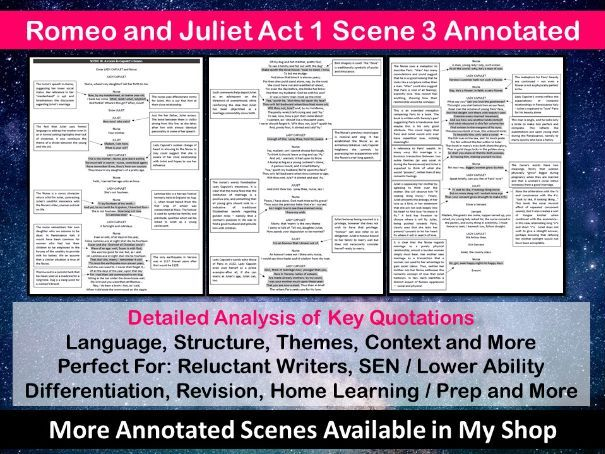 Romeo and Juliet Act 1 Scene 3 Annotated