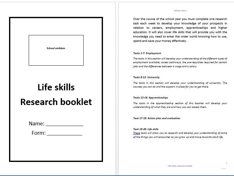 Life skills/careers/P16-18 options/form time/research booklet