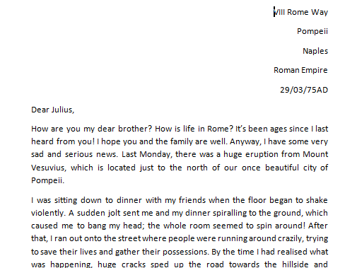 escape from pompeii informal letter example text by