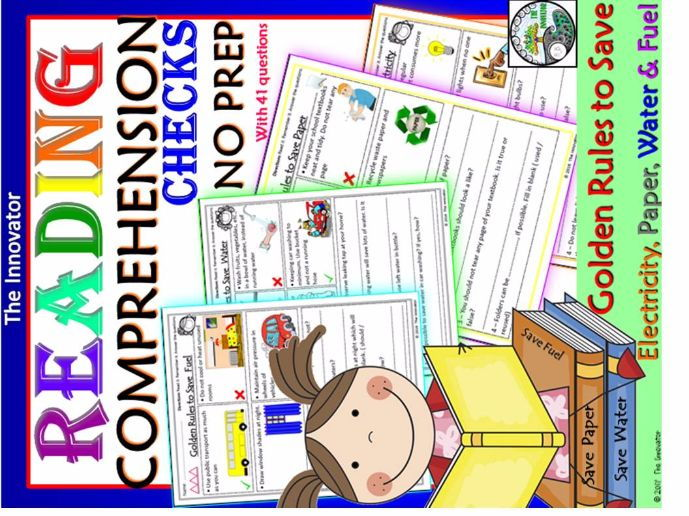 Reading Comprehension Checks – Golden Rules to Save Electricity, Paper, Water & Fuel