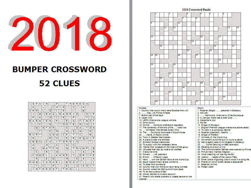 2018 bumper crossword puzzle