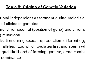 Edexcel A Level Biology Topic 8 Origins of Genetic Variation