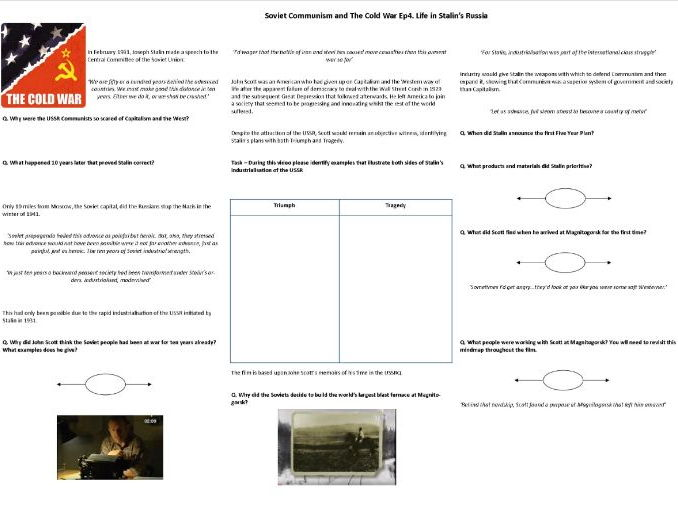 BBC History File—Soviet Communism and The Cold War Ep4. Life in Stalin's USSR - Supporting Worksheet