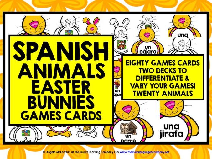 SPANISH EASTER GAME CARDS ANIMALS