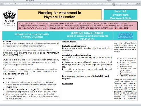 IPC - Physical Education Year 1 & 2: Fundamental Movement Skills SOW