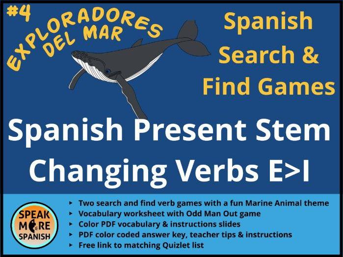 Games for Spanish Stem Changing Verbs E>I * BOOT VERBS * Juegos  de Verbos con Cambios Radicales