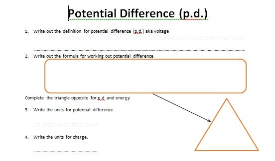 GCSE Physics Worksheet: Potential Difference, Voltage and Energy ...