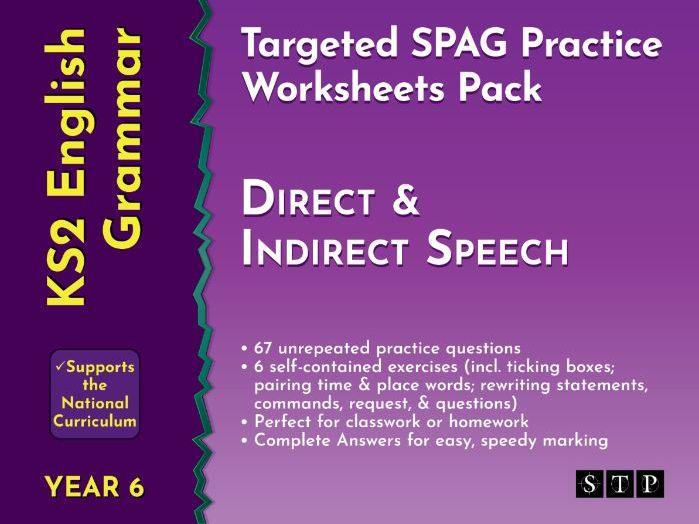 Direct Speech Indirect Speech Worksheets