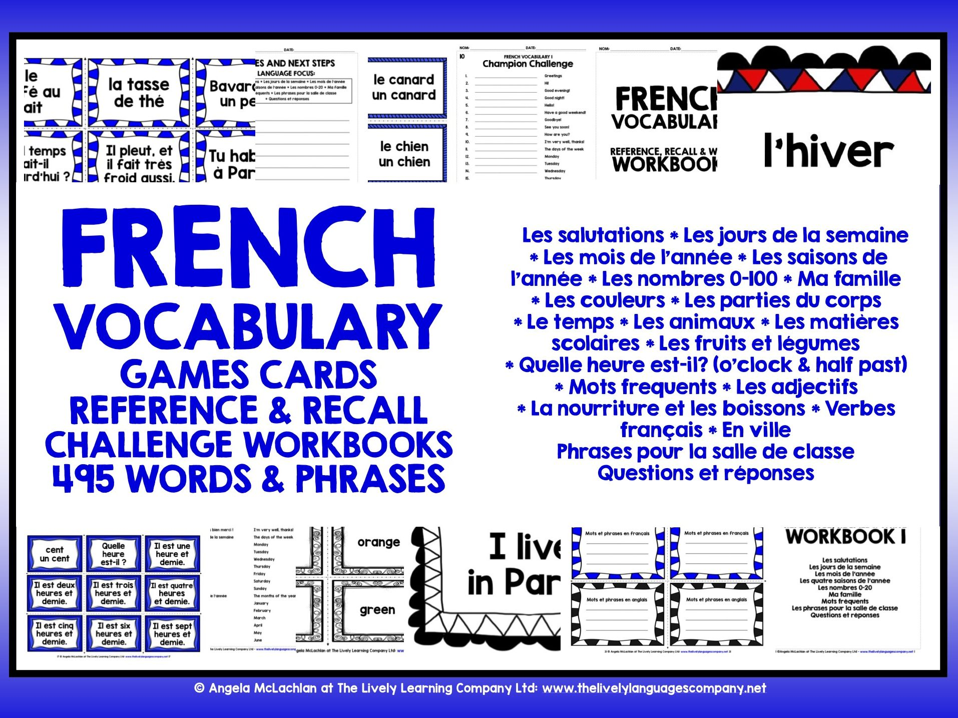 FRENCH VOCABULARY CARDS WITH REFERENCE & RECALL WORKBOOKS