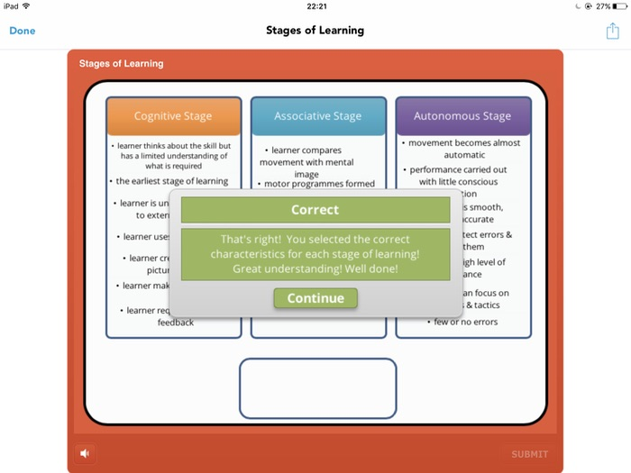 A Level PE (2016): Stages of Learning - sorting activity