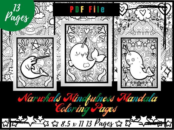 Narwhals Mindfulness Mandala Coloring Pages, Sea Animals Coloring Printable PDF