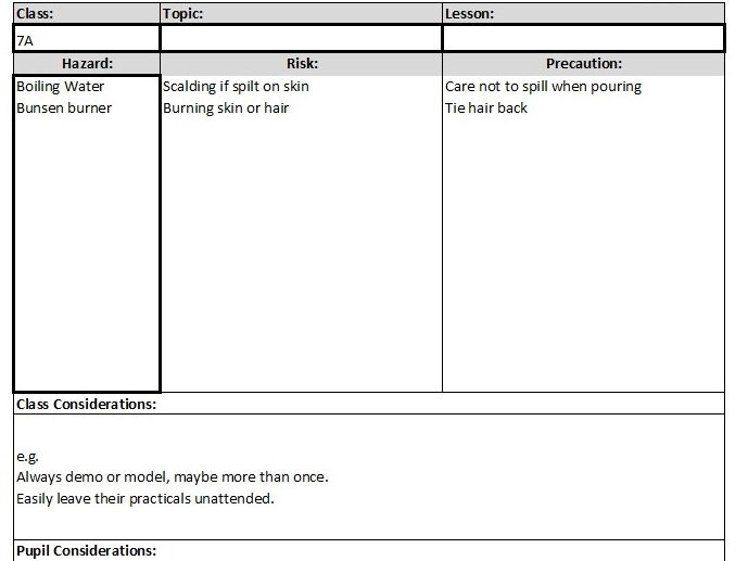 Risk Assessment Template By Dobby1303 Teaching Resources Tes