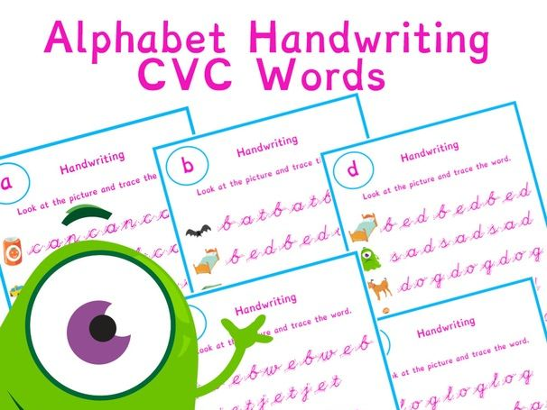 Alphabet CVC Words Phonics Handwriting Worksheet Bundle | Phonics Resources
