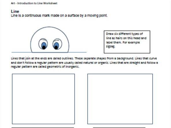 Elements of Design - Line - Middle School Art Worksheet