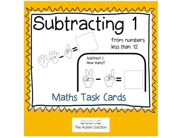 Subtracting 1 from numbers less than 12. Task Cards