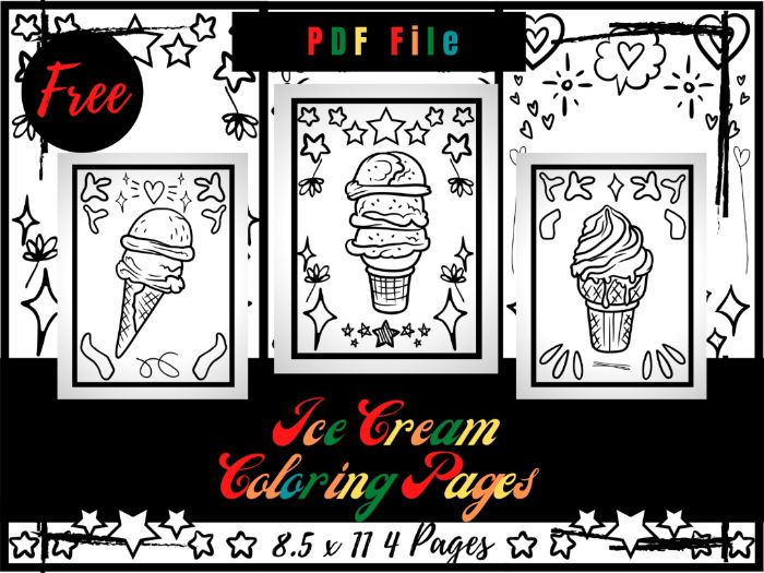 FREE Ice Cream Colouring Pages For Kids, Free Frozen Dessert Colouring Sheets PDF