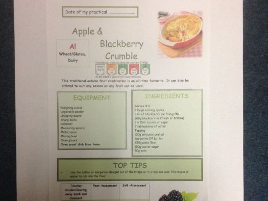 Apple and Blackberry Crumble FULL Recipe Sheet