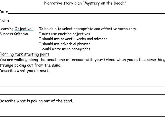 The Beach. Narrative story planning templates (3) with learning objective and success criteria. Year