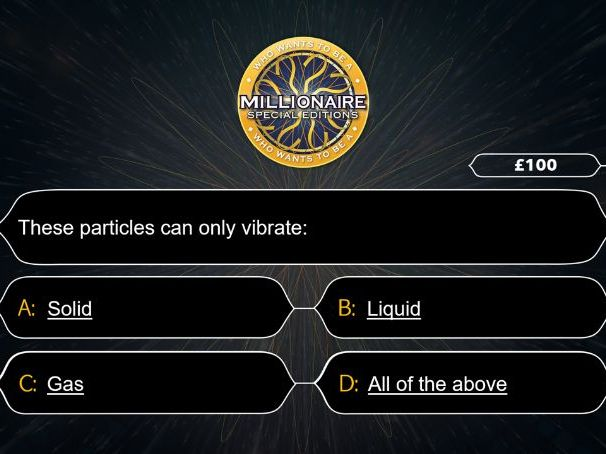 Who wants to be a Millionaire- Thermal transfer