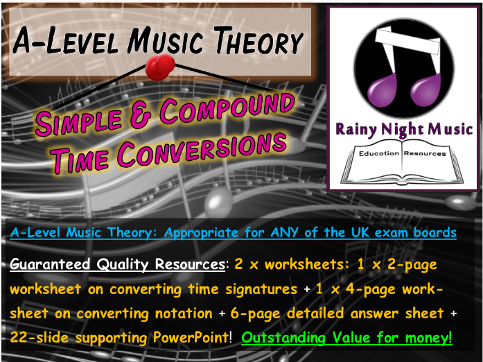 Core A LEVEL MUSIC THEORY Lesson SIMPLE AND COMPOUND TIME Suited to ALL A Level Music Exam Specs