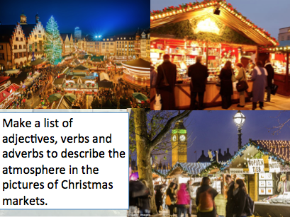 Christmas Market descriptive writing lesson (verbs, adverbs, adjectives and language devices)