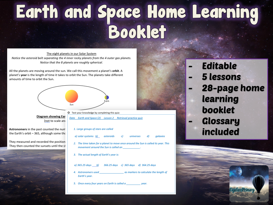 KS2 Earth and Space Home Learning Booklet 2