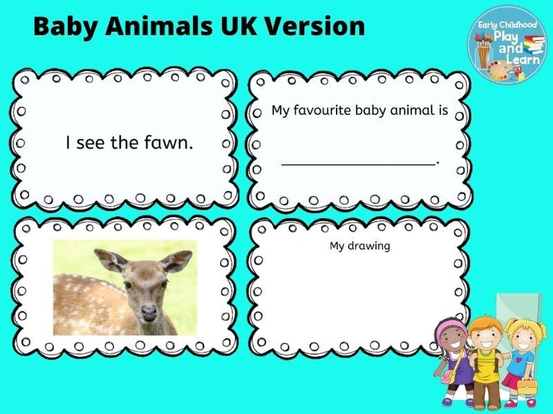 Baby Animals Book UK Spelling Version