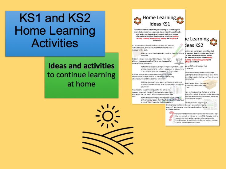 Home Learning Activities KS1 and KS2