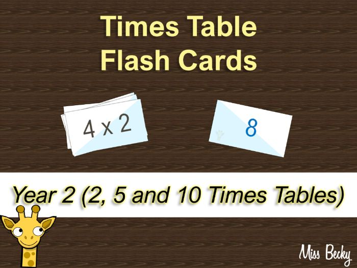 Times Table Flash Cards - Year 2 (2, 5 and 10)