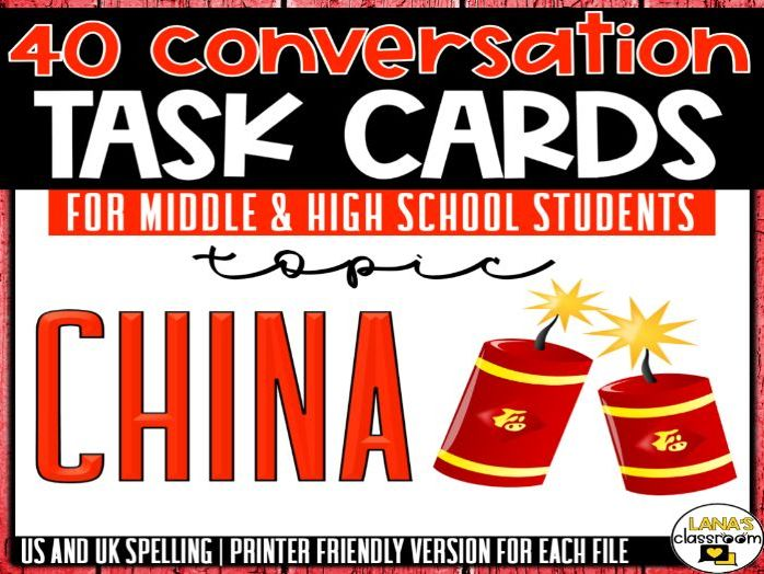Conversation Starter Cards   China   Social Skills for Middle&High