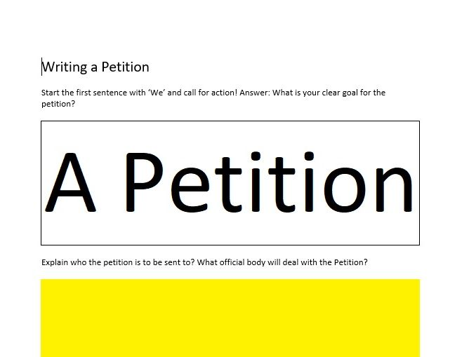 Writing a Petition - For Citizenship and General Studies