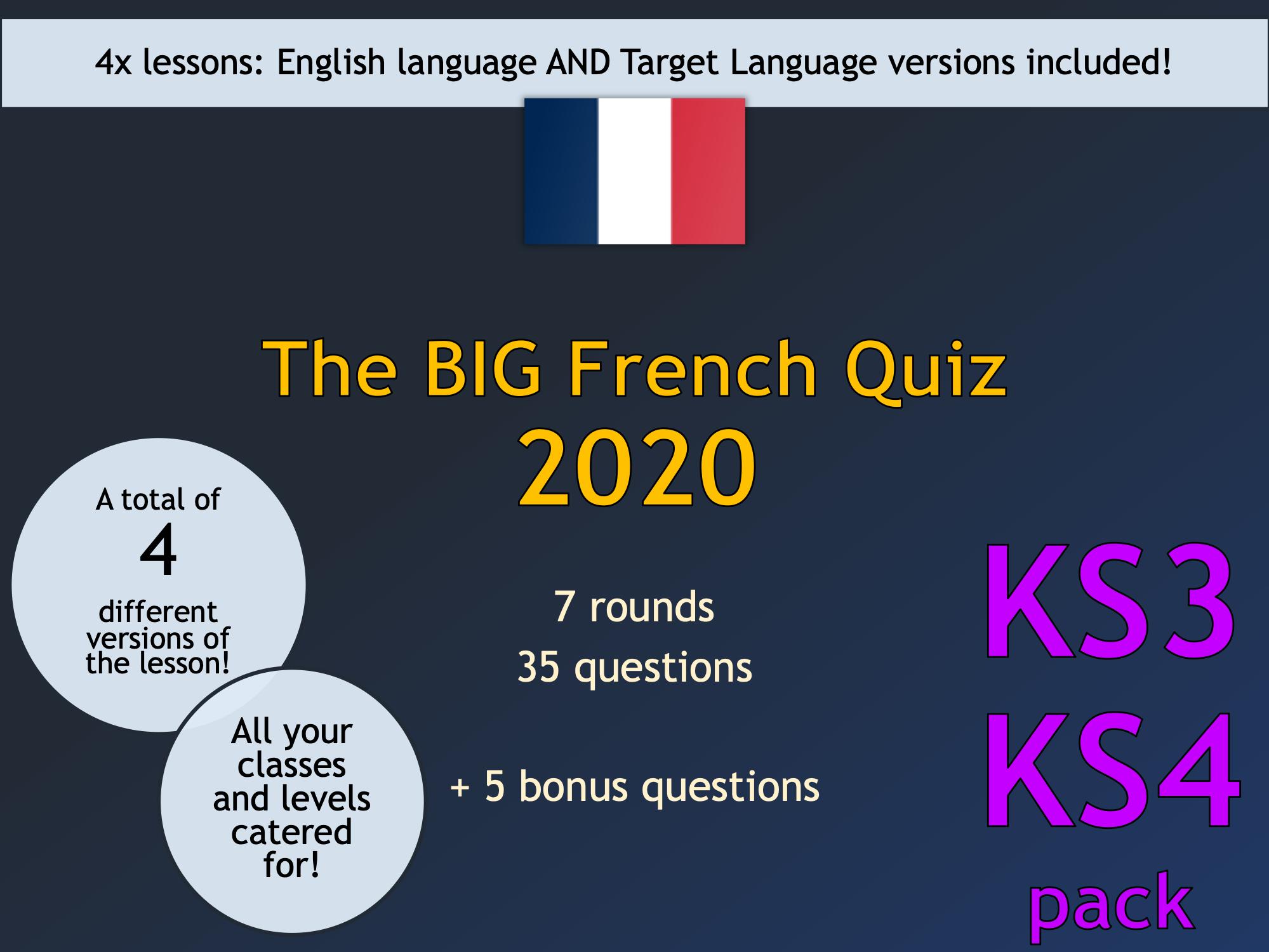 The BIG French Quiz 2020 (KS3/KS4)