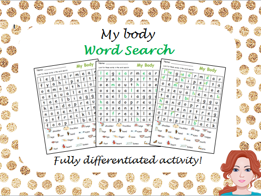 My Body - Wordsearch (differentiated)
