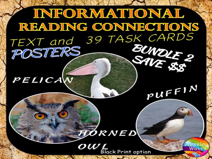 Reading Non-Fiction Informational Text and Task Cards BUNDLE BIRDS PELICAN, PUFFINS and HORNED OWLS
