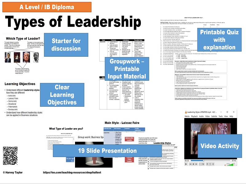 Leadership Styles - Full lesson -AS/A2/IB Diploma