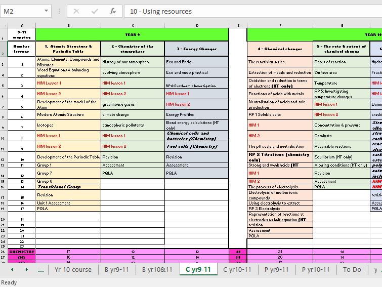 Science Trilogy and Separate Scheme of Work Mapping for year 9 & 10 (AQA)