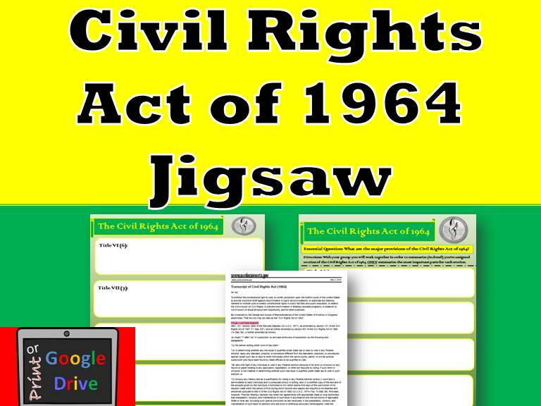 The Civil Rights Act of 1964 Jigsaw -  Print or Google Drive!