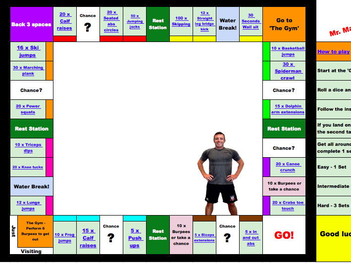Mr. Matt's Monopoly Fitness Game - PE Lesson home learning workout