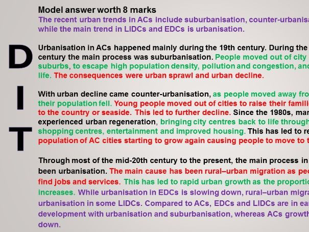 Year 10 Urban Futures SOW 2017 Updated 11) Revision OCR B Urban Futures 8 mark question WITH ANSWERS