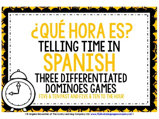 SPANISH TELLING TIME - 3 DIFFERENTIATED DOMINOES GAMES (2)