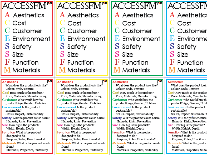 ACCESSFM in Engineering - Single Flash Cards - Product Analysis & Design Specification Tool