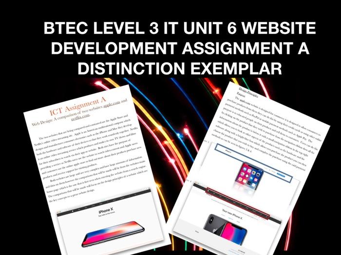 BTEC LEVEL 3 IT UNIT 6 WEBSITE DEVELOPMENT ASSIGNMENT A DISTINCTION EXEMPLAR