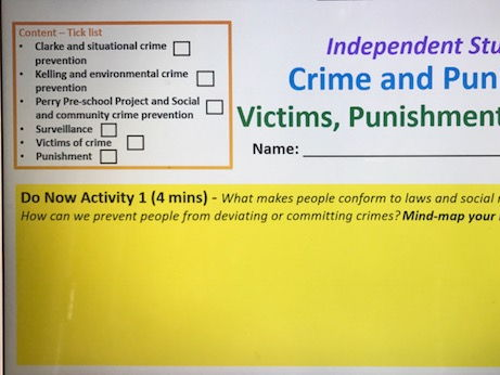 Year 13 Control, Victims and Punishment Independent Work Booklet