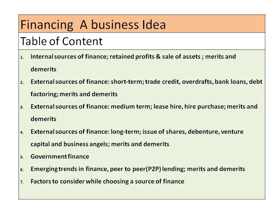 Financing a Business Idea(A level Business)