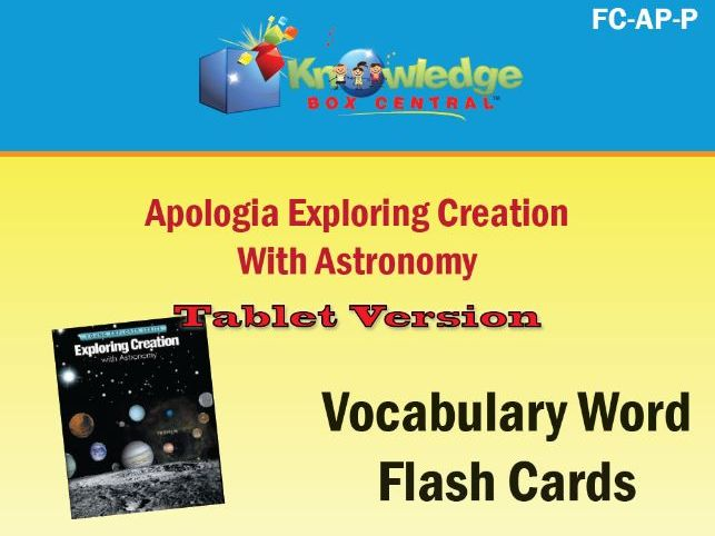 Apologia Exploring Creation with Astronomy Vocabulary Flash Cards - Tablet