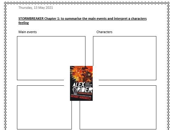 Stormbreaker Chapter 1-3 Reading Comprehension activities