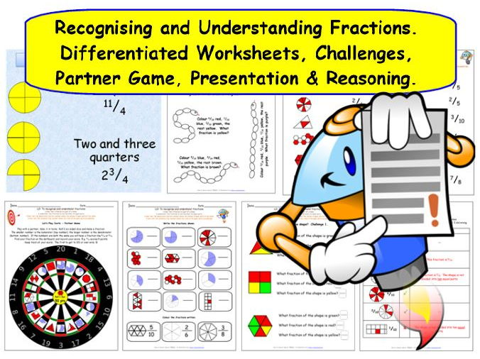 Y3 Y4 Understanding Fractions - 25 pages of worksheets, plus a game and a presentation.