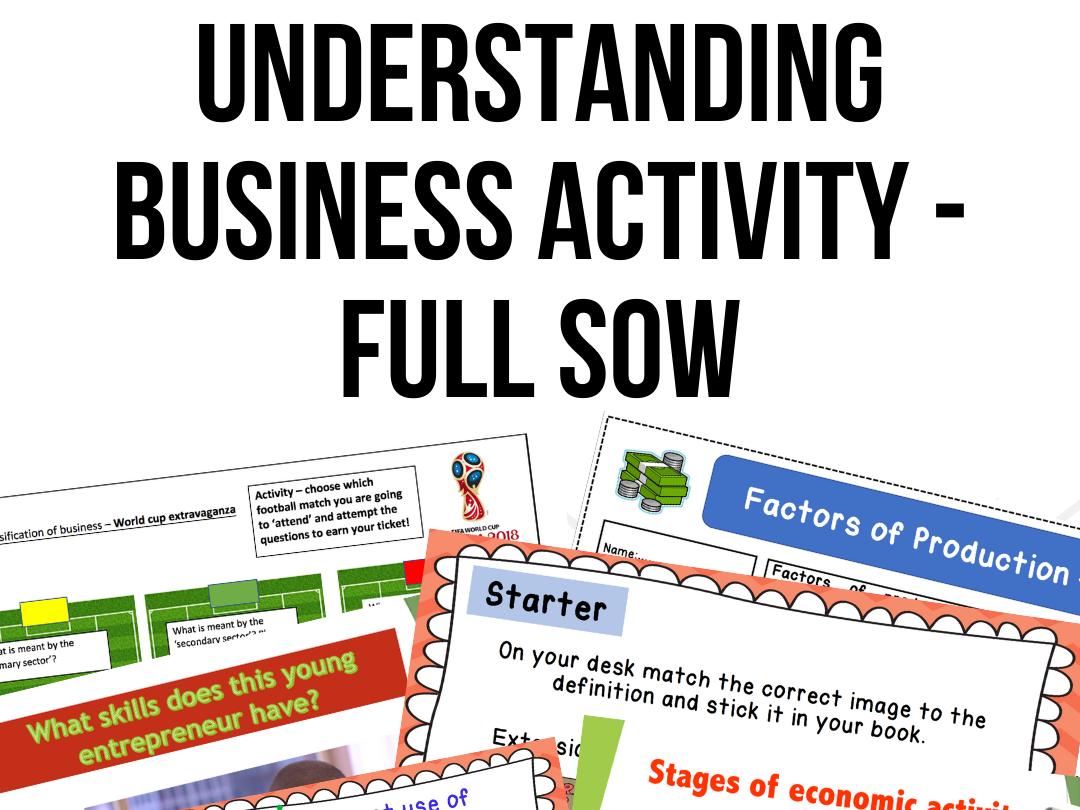 Understanding Business Activity iGCSE - FULL UNIT