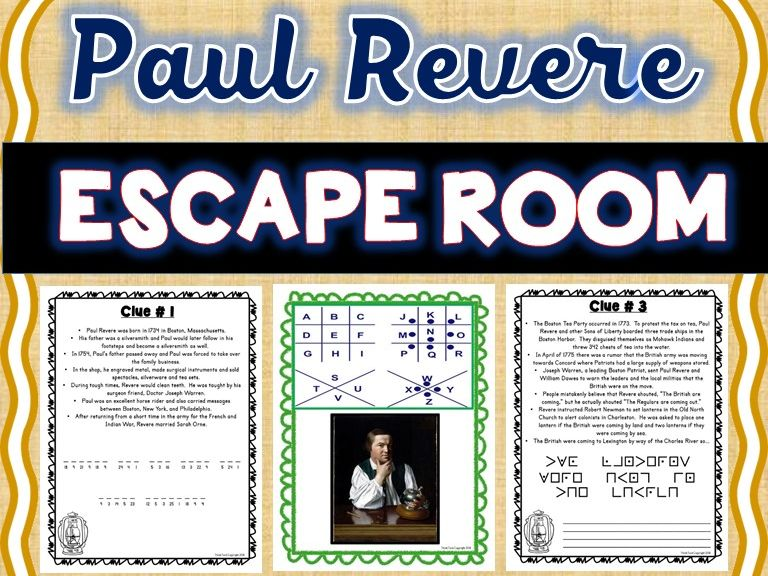 Paul Revere Escape Room: American Revolution, Boston Tea Party