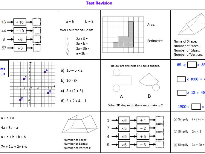 Year 7 Maths Revision Sheet (Low ability)